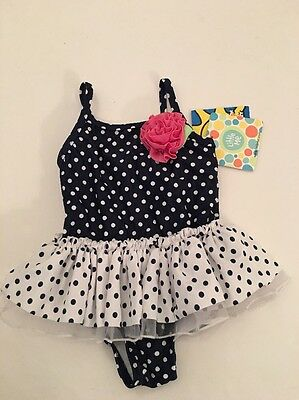 Little Me Baby Girl One Piece Ruffle Swimsuit Navy Blue Size 6 9 12 18 24 Months
