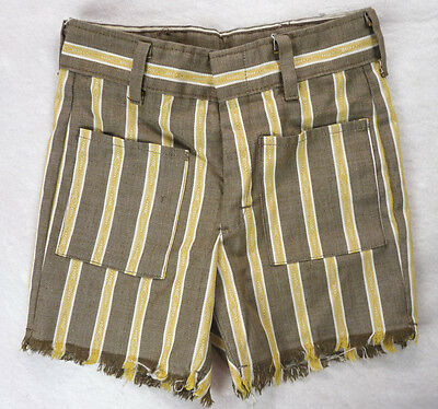 Vintage 60s Brown/Yellow Jacquard Woven Stripe Fringe Cutoff SHORTS 6/7 Small