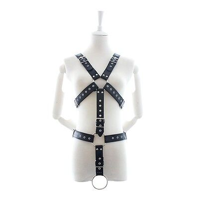 Mens Black leather chest harness full with ring clubwear dancewear party wear 2