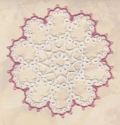 "CUSTOM tatted doily, 4"" approx tatting STARLET, MOTHER's DAY"