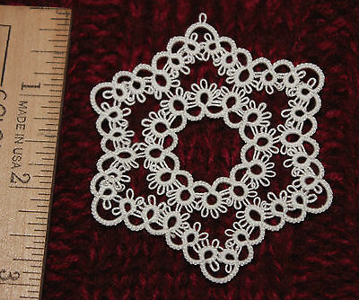 Tatted  STAR of WONDER  Christmas ornament, xmas tatting white MY  OWN  DESIGN!!