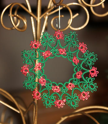"Tatted WREATH 2013 Christmas ornament, tatting, 3"", READY  MADE or CUSTOM Color"
