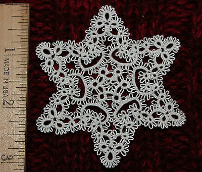 "Tatted STARFLAKE Christmas ornament, tatting, 3"", STAR of DAVID, White or Custom"