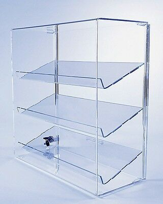 Acrylic Display Case w/ 3 Angled Shelves | Locking Collectible Display Case