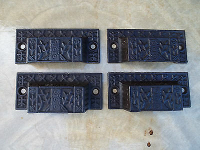 Four Matching Eastlake Victorian Cast Iron Bin / Drawer Pulls, Free S/H