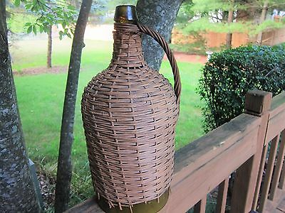 Antique Demijohn Wicker Wrapped with Handle Olive Green Bottle 18""