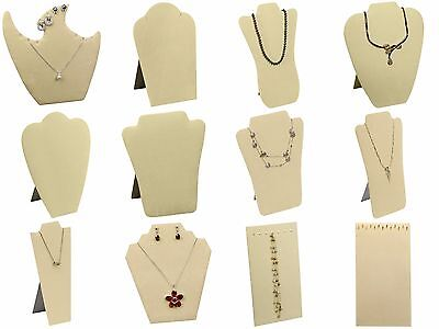 Beige Faux Suede Necklace Easel Jewelry Display for Chains, Necklaces Pendants