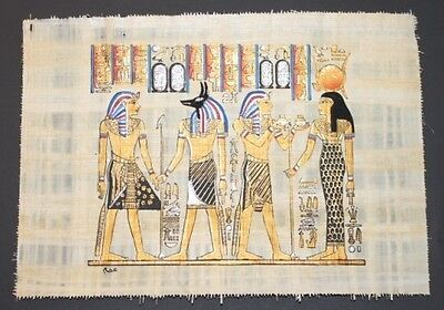 Egyptian Hand-Painted Papyrus Artwork: Crowing of King Tut Ank Amon