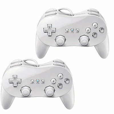 2x White Classic Pro Controller for Nintendo Wii Game Remote