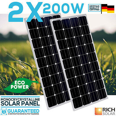 2X 200W 12V Solar Panel Monocrystalline Module House  Caravan Boat  Off Grid Use