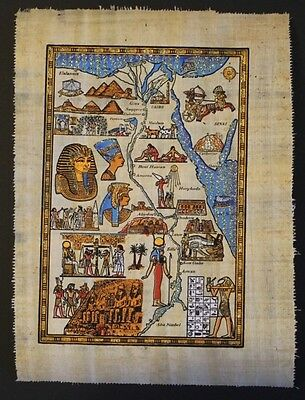 Egyptian Hand-Painted Papyrus Artwork: Egypt Map