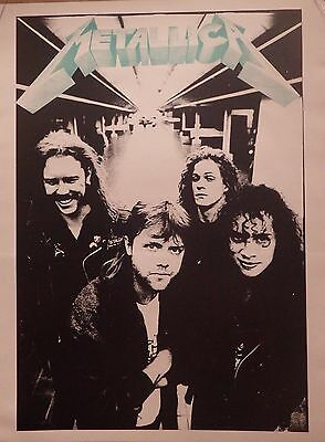 MUSIC POSTER~Metallica Group B/W NOS Vintage UK Import Hetfield,Newsted,Ulrich~