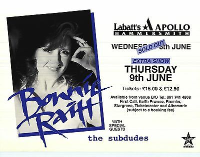 "TOUR POSTER~Bonnie Raitt 1993 London Apollo Hammersmith w/Subdues 30x40"" NOS~"