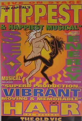MUSICAL POSTER~HAIR Original 1993 London The Old Vic Capital's Hippiest NOS Rare