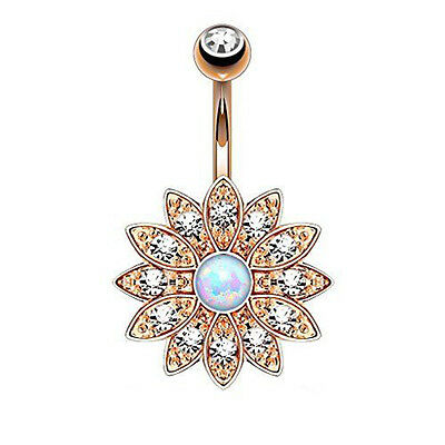 Pretty Jeweled Opal Flower Belly Button Navel Bar Ring Body Piercing Jewelry
