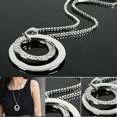 Hot Sale Women Crystal Rhinestone Silver Plated Long Chain Pendant Necklace UK