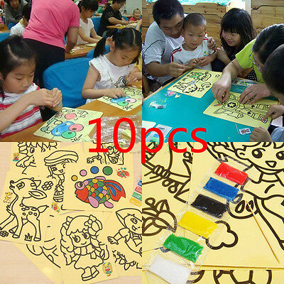10X Sheets Sand Painting Pictures Kid Children DIY Education Intelligence Toy EF