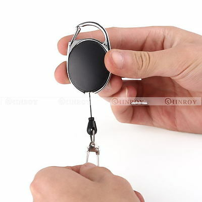 Metal Retractable Key Chain Card Badge Holder Steel Recoil Ring Pull Belt Clip