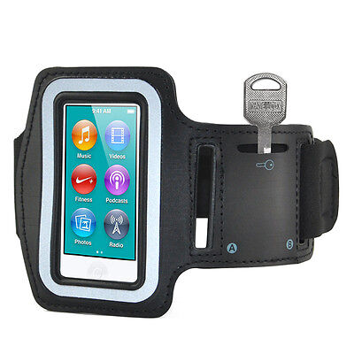 Black Sports Gym Jogging Black Armband se Cover for Apple iPod Nano 7 7th L3