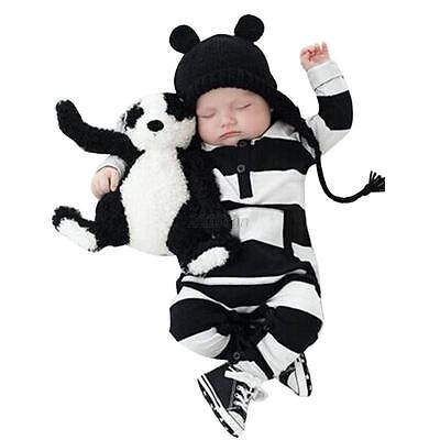 Kids Romper Toddler Baby Boy Girl Striped Jumpsuit Bodysuit Clothes Outfit 0-24M