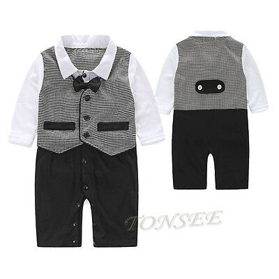 Fashion Baby Boy Cotton Formal Party Christening Tuxedo Waistcoat Bow Tie Suit