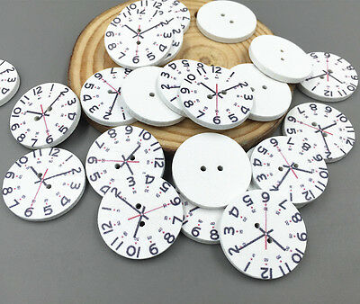 Wooden clock pattern buttons Fit Sewing or scrapbooking craft DIY Crafts 25mm