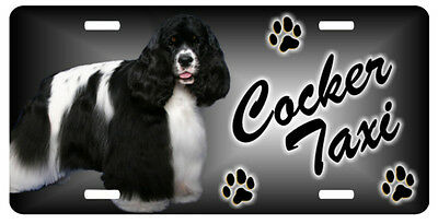 Cocker black and white Taxi Line License Plate  ((SPECIAL LOW CLEARANCE PRICE ))