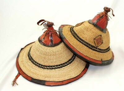 Authentic African Fulani Handmade Pure Leather Conical Straw Hat Summer M L