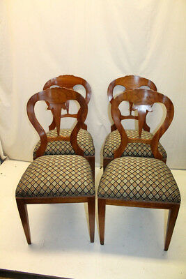 Set of Four Biedermeier Cherry Side Dining Chairs, New Upholstery