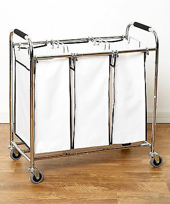Heavy Duty Triple Laundry Sorter/Organizer/Hamper/Cart w/ Wheels [Chrome/White]