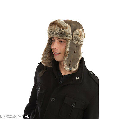 Trapper Hat Faux Leather Faux Fur Top Quality UNISEX -3 sizes - 58cm, 59cm, 60