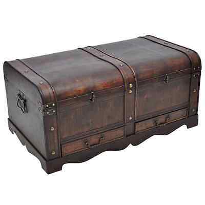 Vintage Large Wooden Treasure Chest Brown Storage Retro Design Coffee Table