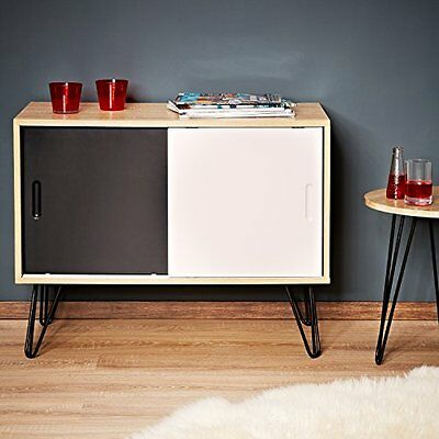 LOMOS  No.16 sideboard out of wood with two doors in white and black