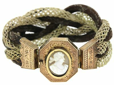1860s Antique Victorian 9ct Solid Yellow Gold Mourning Jewelry Hair Bracelet