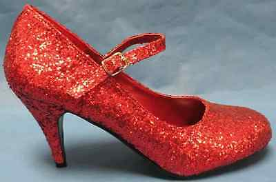 Glinda Shoes Red Glitter Ruby Slippers Fancy Dress Halloween Costume Accessory
