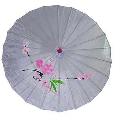 Vintage Oriental Folding Purple Wedding Party Nylon Bamboo Umbrella Parasol 15""