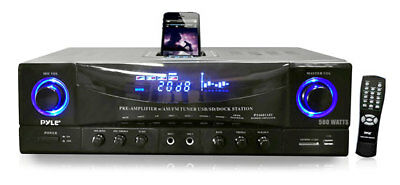 NEW Pyle PT4601AIU 500W Stereo Receiver AM-FM Tuner USB/SD Input & iPod Dock