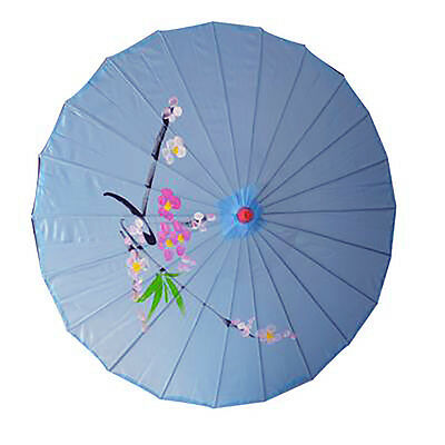 Vintage Oriental Folding Blue Wedding Party Nylon Bamboo Umbrella Parasol 15""