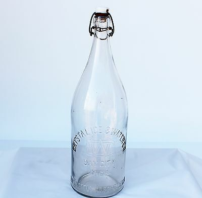Antique Half Gallon  ''CRYSTAL ICE & WATER CO. BAY CITY MICH.''  excellent