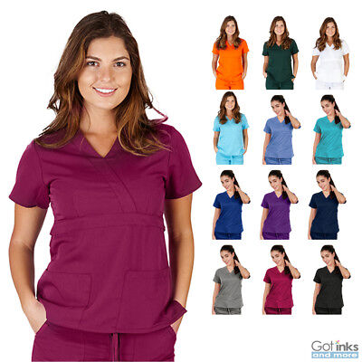 Women's UltraSoft Junior Fit V-Neck Mock Wrap Scrub TOP ONLY Nursing Uniform