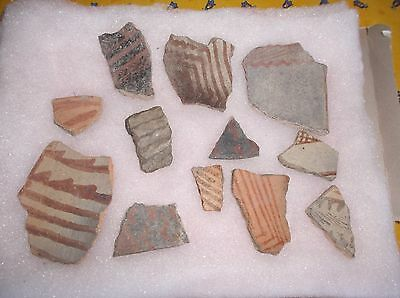 Lot of 12 HOHOKAM Pottery Shards, Painted Decor, Native American, various sizes