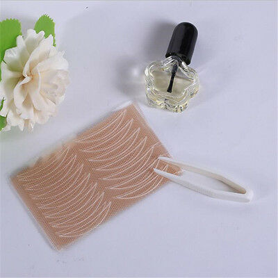 30 Pairs Lace Double Eyelid With Glue Invisible Breathable Eye Tape Stylish Tool
