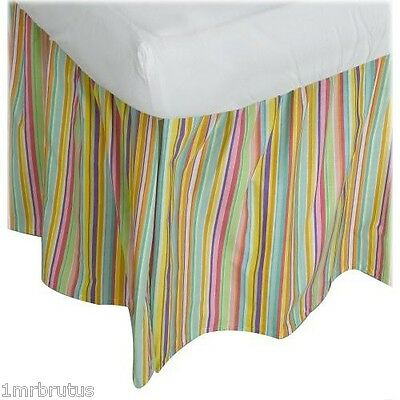 Freckles Butterfly Garden TWIN Ruffled Bed Skirt Colorful Striped Dust Ruffle