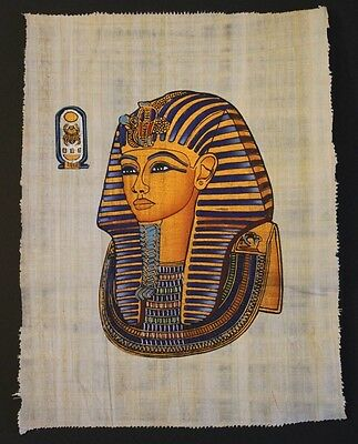 Egyptian Hand-Painted Papyrus Artwork: The Golden Mask of King Tut Ank Amon