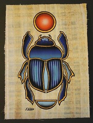 Egyptian Hand-Painted Papyrus Artwork: The Holy Scarab