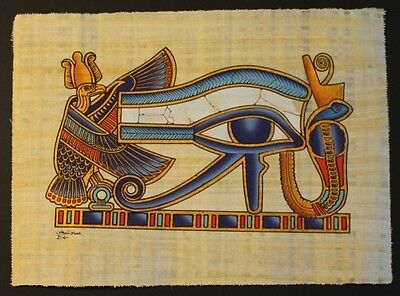 Egyptian Hand-Painted Papyrus Artwork: The Eye of Horus God of Protection