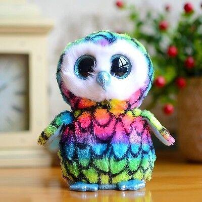 TY Beanies Boos the  Plush Collectible Toy Dolls 6'' Rainbow Owl Aria Claire's