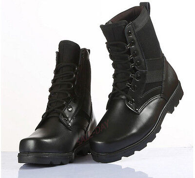 Black Mens Womens Leather Military Tactical Outdoor Climbing Desert Combat Boots