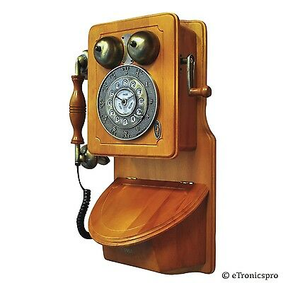 New Pyle Vintage Retro Antique Country Style American Heritage Wall Phone Wood