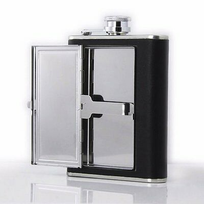 Brand New 6oz Stainless Steel Hip Flask with Cigarette Case Leather Wrap Great